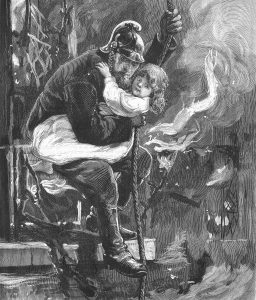 Image of fireman rescuing a child